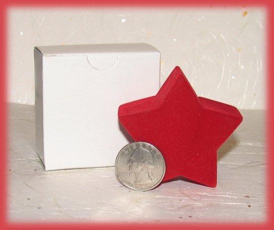 Red Star Theme Mini Ring Box Faux Velvet, Great Gift!