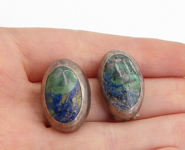 MEXICO 925 Sterling Silver - Vintage Jasper Oval Non Pierce Earrings - E... - $42.54