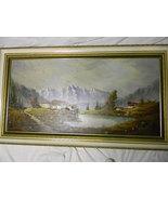 """Carlo Mancini . Vintage 55"""" x 31"""" Oil Painting Landscape - $650.00"""