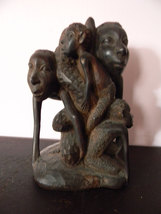 Vintage Wood Sculpture . Carved Family Carving - $250.00