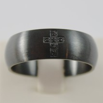 BURNISHED STEEL SATIN WITH BLACK ZIRCONIA CROSS RING 8 MM 4US BY CESARE PACIOTTI image 1