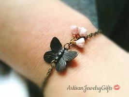 Black Butterfly Bracelet Pink Baby Bell Flowers Butterfly Charm Bracelet... - $28.90