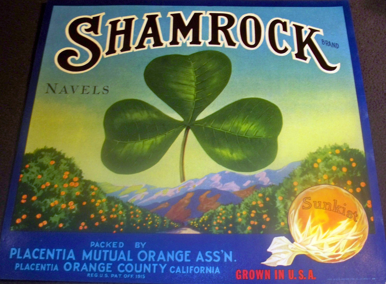 Irish Pride! Shamrock Crate Label, 1930's