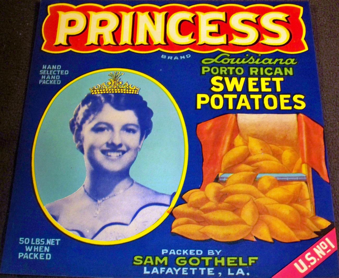 Sweet Potato Princess Crate Label, 1940's
