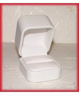 Ring Box Elegant White Faux Leather, Great sweetie gift! - $14.99