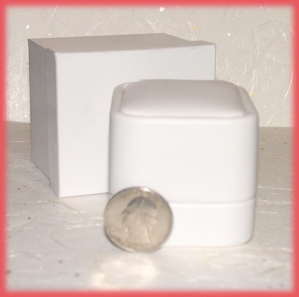 Ring Box Elegant White Faux Leather, Great sweetie gift!