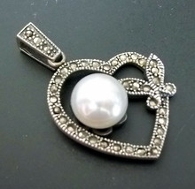 """925 Sterling Silver Marcasite White Pearl Heart Pendant 1 1/2""""(HALLMARKED In Uk) - $46.54"""