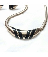 D08 Vintage Avon Necklace Earrings Black enamel over gold tone MCM jewelry - $26.38