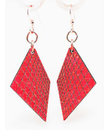 Green Tree Jewelry Graph Lines Earrings Cherry Red Wood Wooden Laser Cut... - $9.99