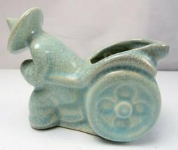 Antique China Pottery Craquelé Celadon Ceramic Art Deco planter figurine - $68.00