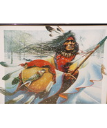 "Native American Art Print: ""Indian with Shield in Winter"" by Artist: Thi... - $8.99"