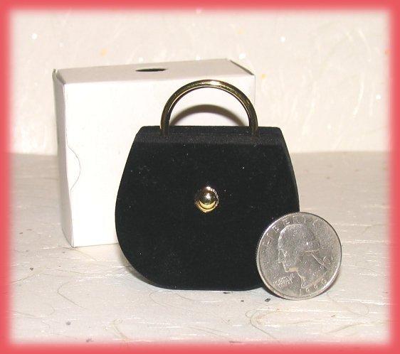 Ring Box Black Faux Velvet Ladies Handbag Purse Theme