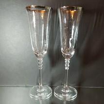 2 (Two) MIKASA SONATA PLATINUM Crystal Champagne Flutes with Platinum Trim - $23.74