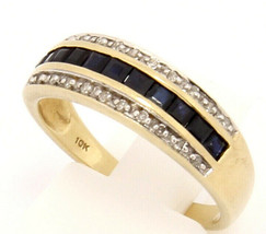 Vintage 10k Yellow Gold Band with Sapphire and Diamond Size 7.25 - $189.00