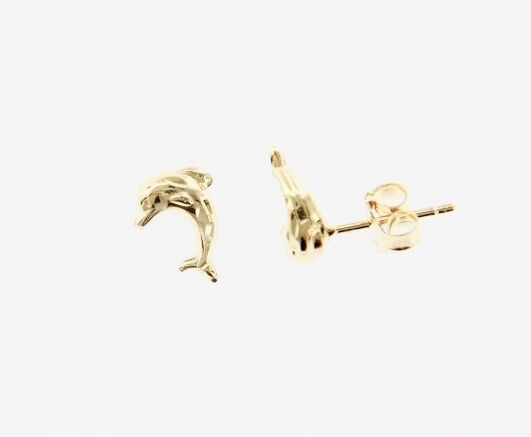 18K YELLOW GOLD EARRINGS WITH VERY SHINY DOLPHIN WORKED MADE IN ITALY 0.28 IN