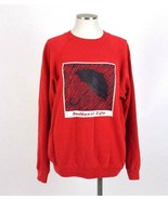 Vtg 80s Red Sweatshirt Puff Paint Umbrella Long Sleeve Crew Neck Shirt M... - $24.74
