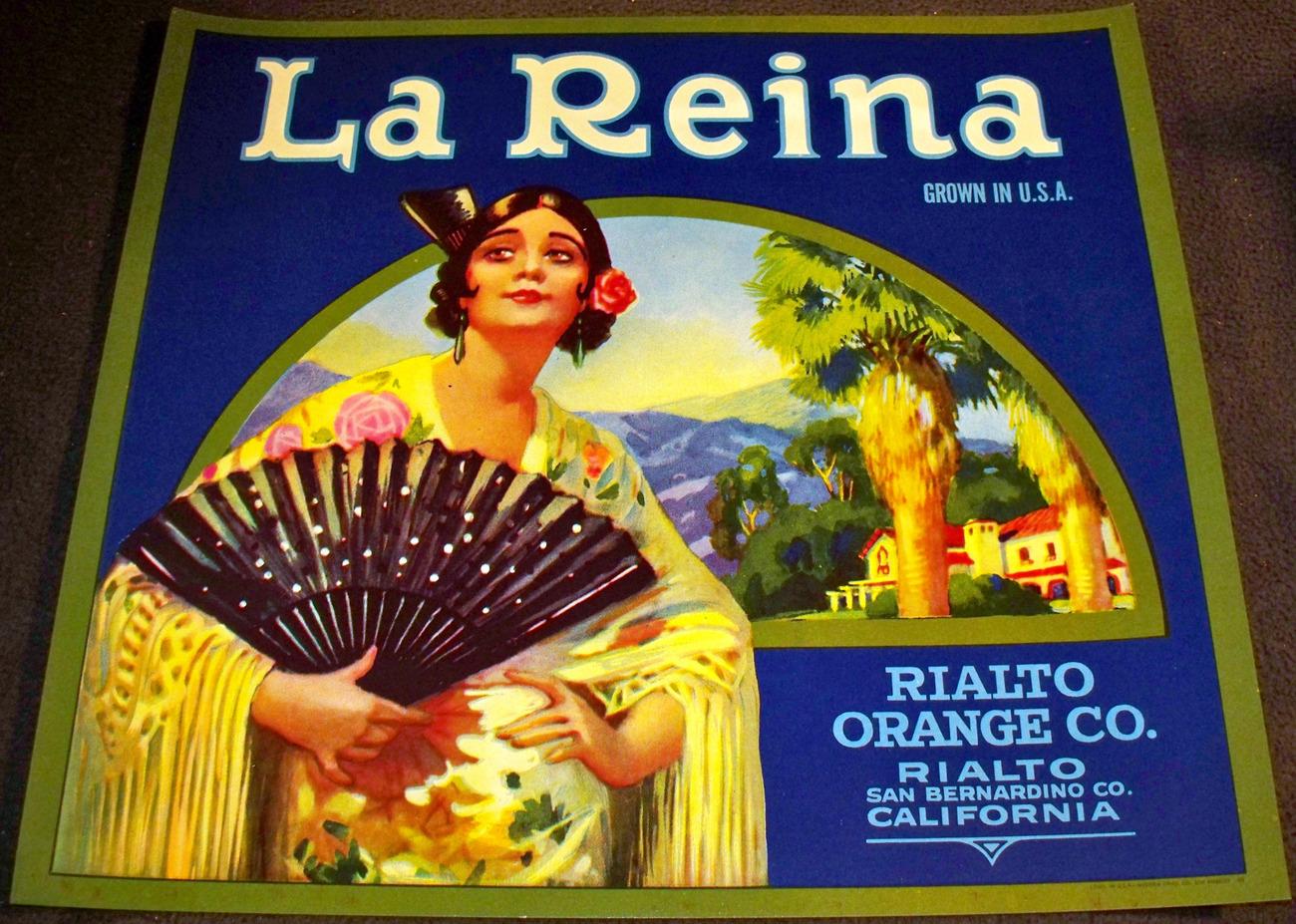 Exotic and Elegant! La Reina Crate Label, 1930's