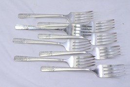 "Prestige Plate Grenoble Salad Forks Silverplate 6.375"" Lot of 8 - $26.45"