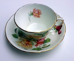 Teacup And Saucer Hammersley & Co England Bone China Rose Pattern With G... - $24.99