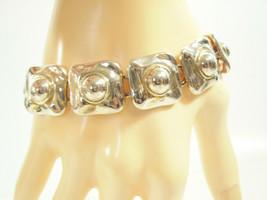 PREMIER DESIGN Silver Plate Link Bracelet Squared Domed Vintage Estate - $16.82