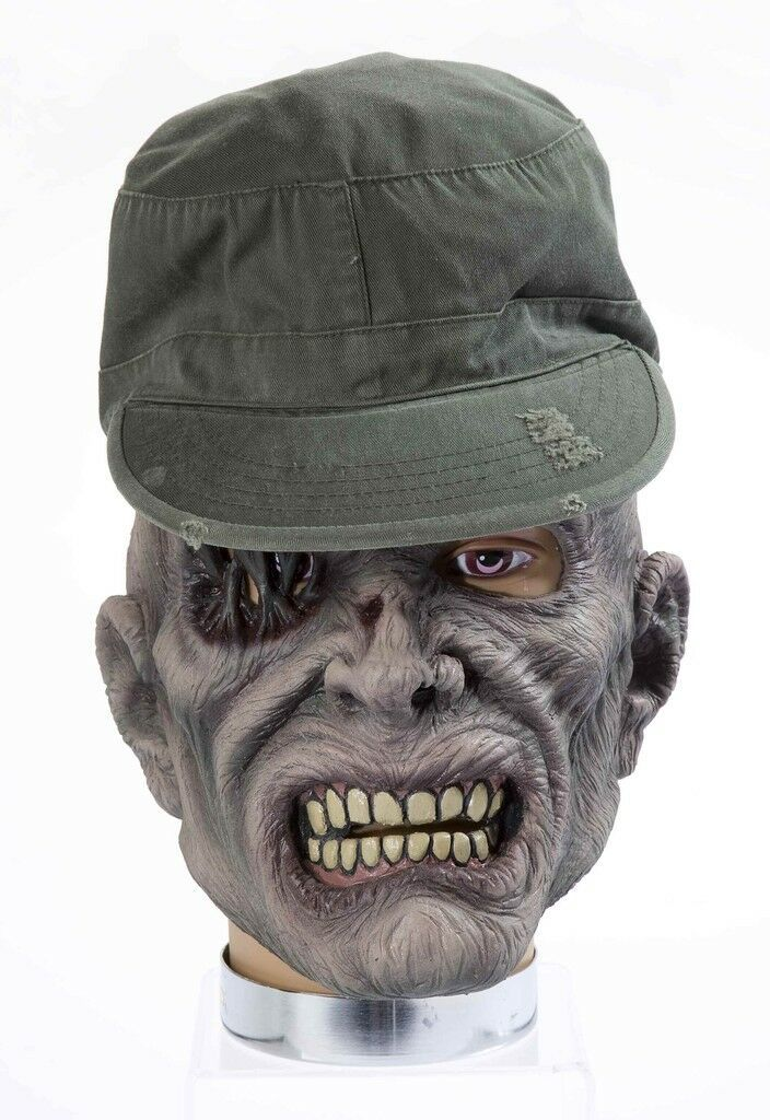 Primary image for ADULT PVC LATEX ZOMBIE MASK W/HAT SARGE ACCESSORY