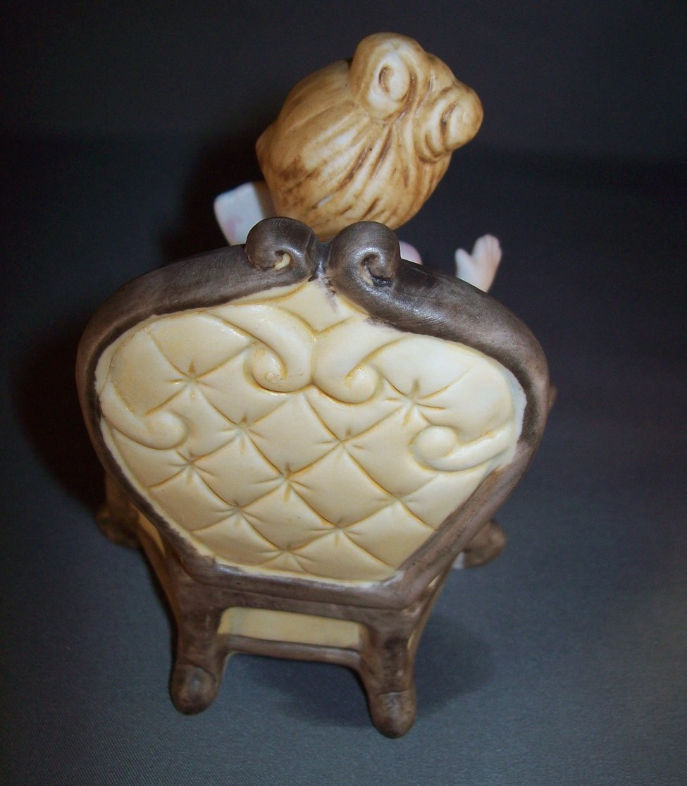 Vintage Figurine Girl Sitting with Fan In Old Fashion Chair Ceramic