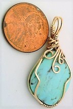 Turquoise Gold Wire Wrap Pendant 54 - $44.00