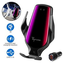 Wireless Car Charger Mount, Smart Sensor Automatic Clamping QC/QI (R3 Bl... - $39.06
