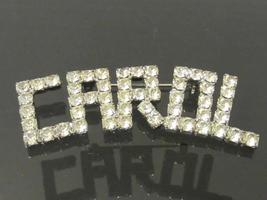 Vintage Jewelry Silver-Tone CAROL Rhinestones Brooch - $15.00
