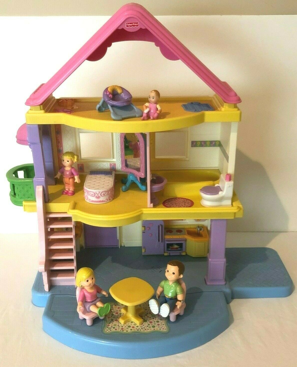 Primary image for Fisher Price My First Dollhouse With Furniture and Figures Dolls Toy Lot Sounds