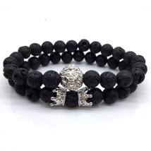 2pcs/set 2018 New Fashion Bracelet Men Lion Crown Couple Stone Bead Char... - $17.26