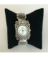 Geneva Quartz Ornate Silver Black Hinged Bracelet Cuff Watch - $17.81