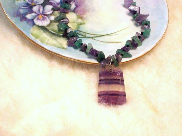 Cookie Lee Fluorite & Amethyst Necklace - Item #82128 - New, Wow! image 1