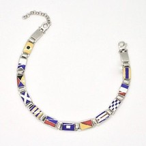 BRACELET 925 SILVER RHODIUM WITH FLAGS NAUTICAL GLAZED TILES MADE IN ITALY - $188.79