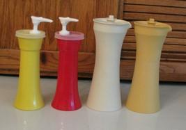 Tupperware Oil & Vinegar Cruets Gold Almond Vacuum Lids + Mustard Ketchup  - $10.88