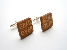 Game Over Cuff  Links, Engraved Game Over and Lasercut  From Wood, Weddings - $14.95