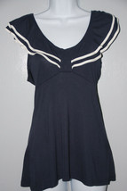 EUC H&M Size Small Navy Blue w/White Flare Top 100% Viscose - $11.00