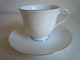 Nikko White Lace Platinum Cup and Saucer Set - $7.91