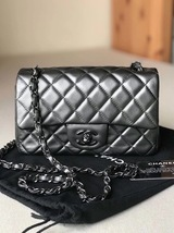 AUTH CHANEL SO BLACK DARK PEARLY GREY LAMBSKIN LARGE MINI 20CM FLAP BAG
