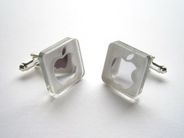 Apple Cufflinks, Engraved  And Lasercut Rectangle Mirror plastic - Apple... - $17.95