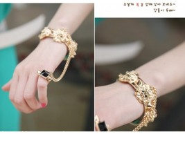Queen Style Lion Studs Gold Cuff Ring Bracelet - $23.99