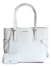 NWT MICHAEL KORS VOYAGER SIGNATURE EAST WEST TOTE AND MATCHING CARD CASE... - $211.89