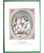 FRENCH GIRLS Lovers Passionate Kiss - 1909 Color Print - $13.05