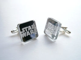 Star Wars Cuff  Links, Engraved Logo  and Lasercut Rectangle From Mirr - $17.95