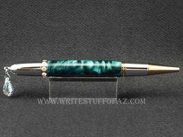 VALENTINES DAY! - Handmade Diva Twist Pen in Silky Pine Green, Swarovski - $24.99