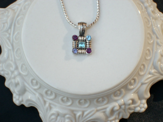 Cookie Lee Genuine Austrian Crystal Square Pendant Necklace - Item #89118 - New!