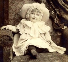 Young Girl in Christmas Finery Dress and Hat Cabinet Card 1885 Gilbert &... - $59.34