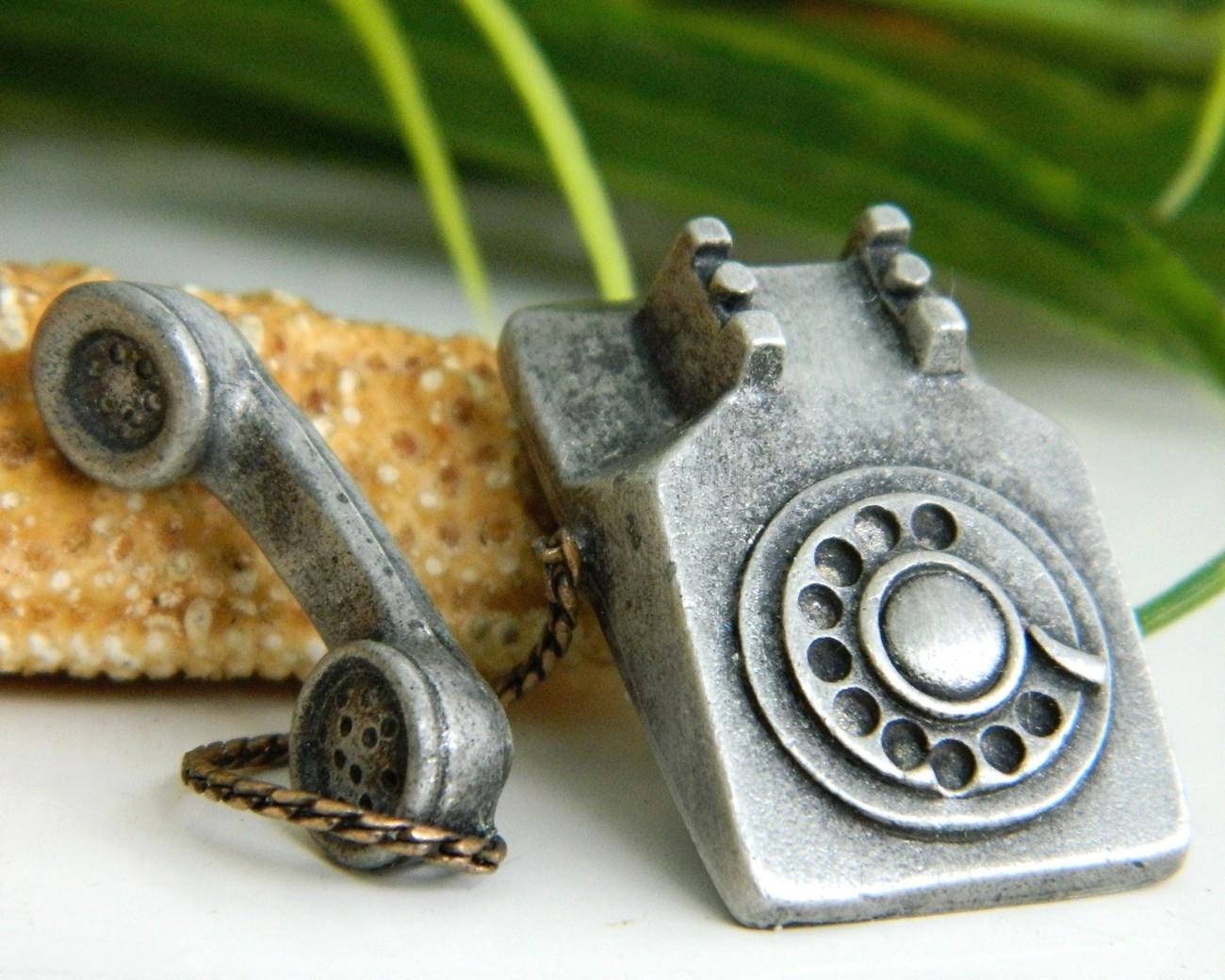 Vintage Rotary Telephone Tie Tack Lapel Pin Pewter JJ Jonette - $15.95