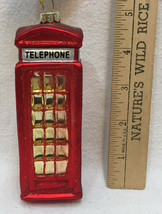 British Telephone Booth Glass Ornament Colorful Christmas Red Glitter Ho... - $12.86