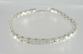 "Solid 925 Sterling Silver Bright Cut Circle Mesh Bracelet High Fashion 8"" - $74.20"